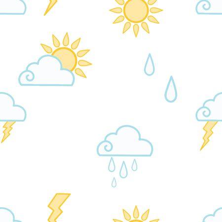 Weather seamless pattern.Vector illustration. Sun, clouds, rain, lightning