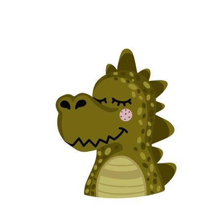 The head of a crocodile isolated on a white background. Cute animal. Vector illustration Illustration