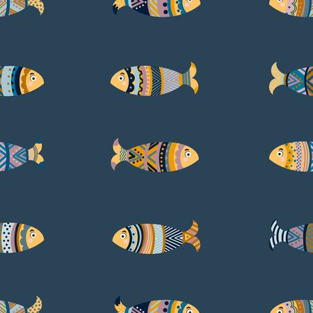 Seamless pattern of colored fish. The patterns on the fish. Vector illustration Illustration