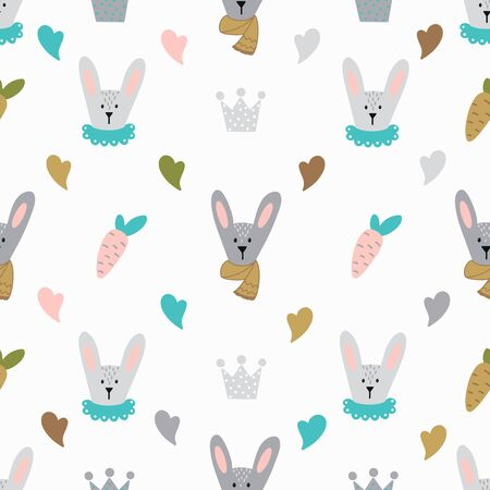 Vector seamless pattern with cute rabbit , hearts, carrots and crowns on white background. Endless texture.