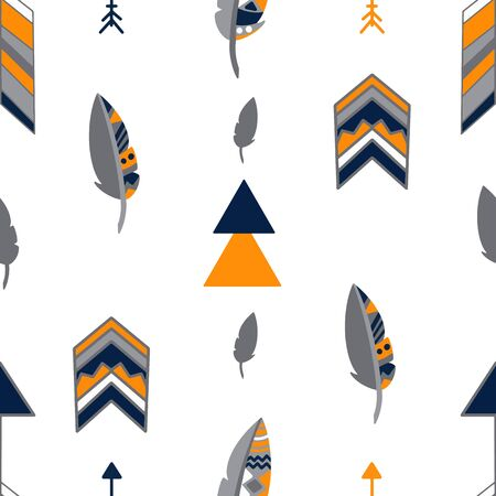 Pattern with elements of Indian culture, with feathers, arrows and geometric shapes. Vector seamless pattern