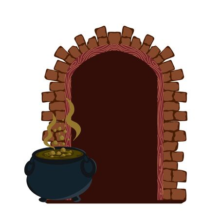Magic wooden door with brick edging on white background. Witch door with cauldron.Vector illustration