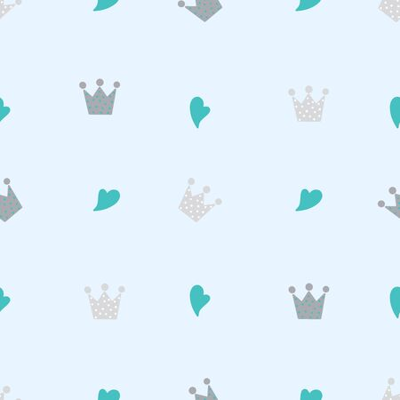 Seamless abstract crown and heart pattern on colored background, Vector illustration texture for paper, wrapping and fabric