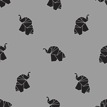 Endless vector pattern with black origami elephants on grey background. Childrens pattern. Background of cute elephants.