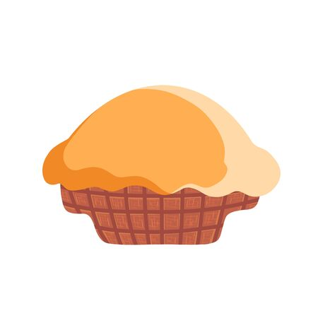 Flat vector icon of freshly baked cake . Sweet food. Delicious dessert.Cartoon illustration of a freshly baked cake Illustration