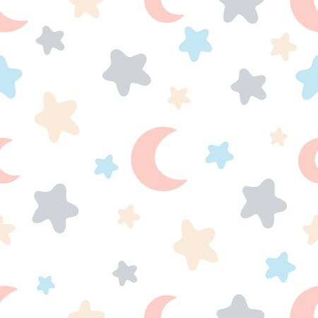 Seamless abstract Star and moon pattern on white background, Vector illustration texture for paper, wrapping and fabric