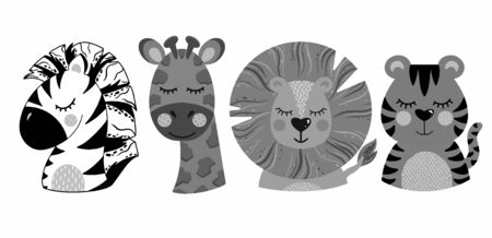 Set of cute animal heads in gray tones on isolated white background.vector illustration