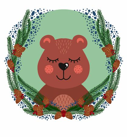 bear head in round frame with fir branches cones and berries. Vector illustration