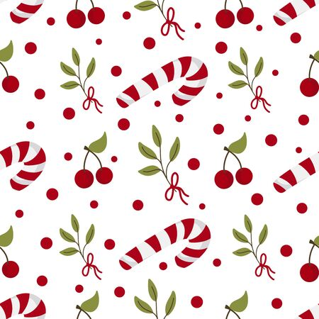 Seamless pattern with christmas tree branches, candy canes and berries. Vector illustration background