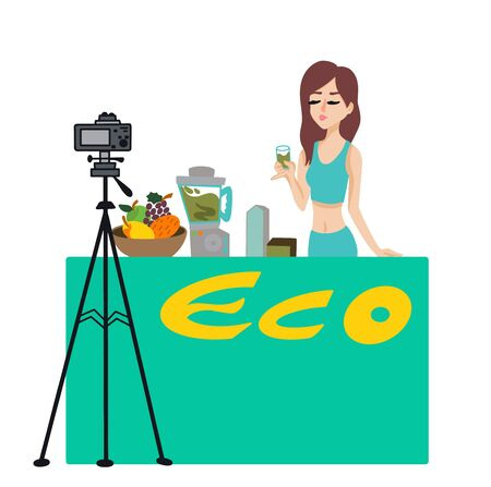 Blog about healthy eating.Woman with a drink near the eco rack makes a video about proper nutrition. vector illustration