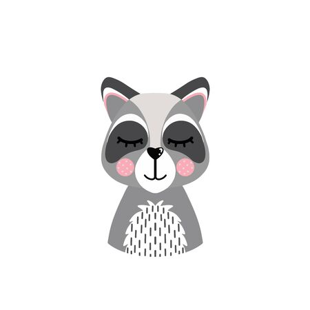 The head of a raccoon isolated on a white background. Cute animal. Vector illustration Illustration