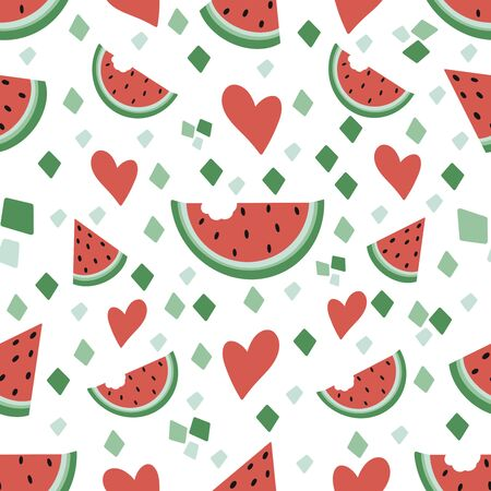 Trendy seamless pattern. Vector illustration of a watermellon and others elements solated on a white background