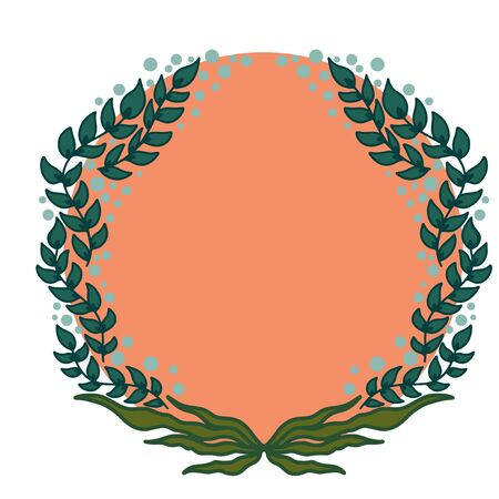 Round Frame with flowers and leaves on colored round background. Vector illustration