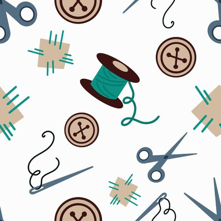 Vector pattern with needles, scissors, threads and patches