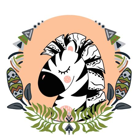 Vector illustration with cute animal. Zebra head in a round frame of flowers and leaves