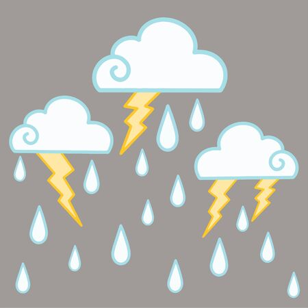 Vector illustration with clouds, lightning and rain. Cloudy weather