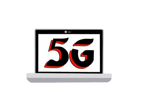 Icon of laptop 5G on an white background. Laptop network of the fifth generation. Vector illustration.