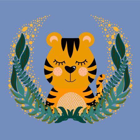 Vector illustration with cute animal. Tiger head in a round frame of flowers and leaves