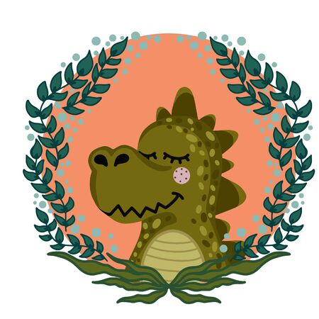 Vector illustration with cute animal. Crocodile head in a round frame of flowers and leaves