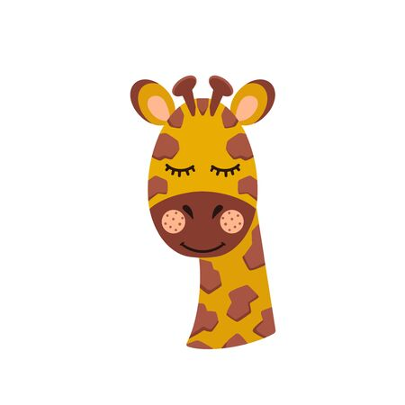 The head of a giraffe on an isolated white background.. Cute animal. Vector illustration