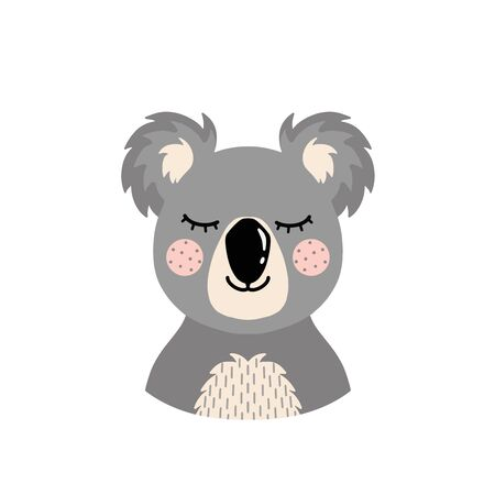 The head of a koala on an isolated white background.Cute animal. Vector illustration