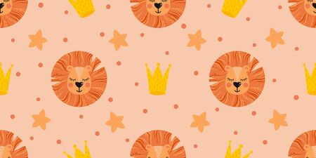 Vector seamless pattern with cute lion heads, crowns and other elements on a colored background. Pattern for childrens bed linen, wrapping paper, clothing