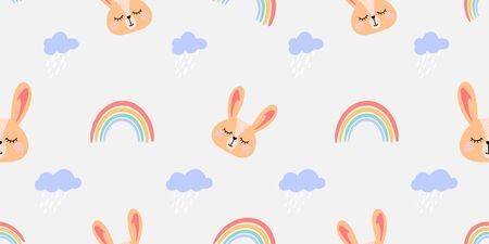 Vector pattern with colorful rainbows, clouds , rabbit and other elements. Seamless texture for baby clothes, bed linen, wrapping paper Illustration