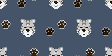 Vector pattern with snow leopard head and paw prints. Seamless pattern for bed linen, wrapping paper, fabric. Vector illustration on dark blue background Illustration