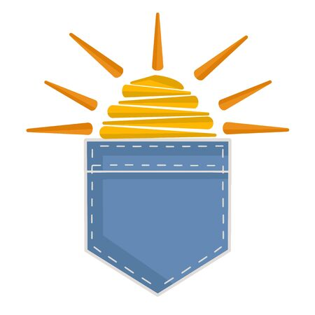 Blue denim pocket with sun inside for t-shirts, hoodies and other clothing. Vector illustration