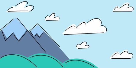 Mountain landscape, snowy mountains, green hills and sky with white clouds. Vector illustration