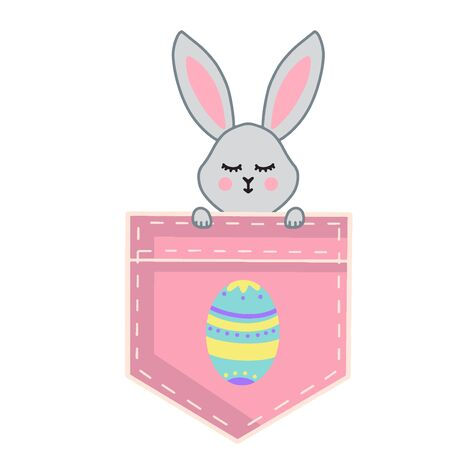 A small grey rabbit looks out of a pink pocket. The Easter egg is drawn on the pocket.Vector illustration