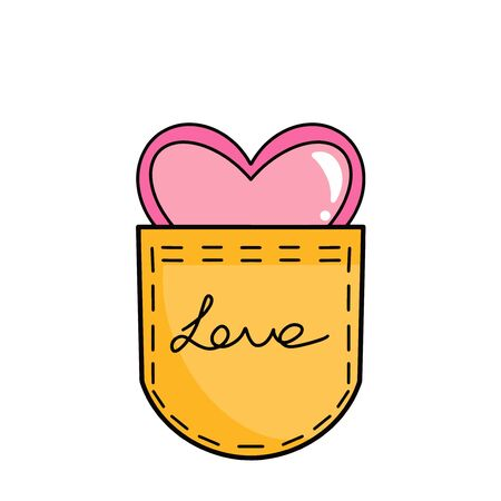Bright yellow textile pocket with the inscription love, and with a heart inside. Vector illustration Illustration