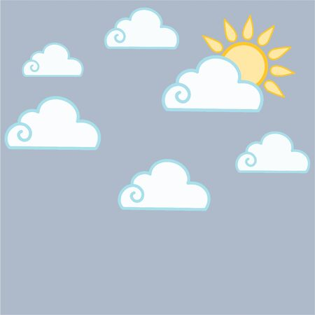 Vector illustration with clouds and sun. Cloudy weather.