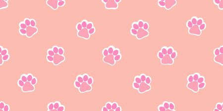 Vector pattern with cute pink paw prints. Seamless pattern for bed linen, wrapping paper, fabric. Vector illustration on colorful background