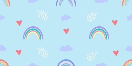 Vector pattern with colorful rainbows, clouds and other elements. Seamless texture for baby clothes, bed linen, wrapping paper
