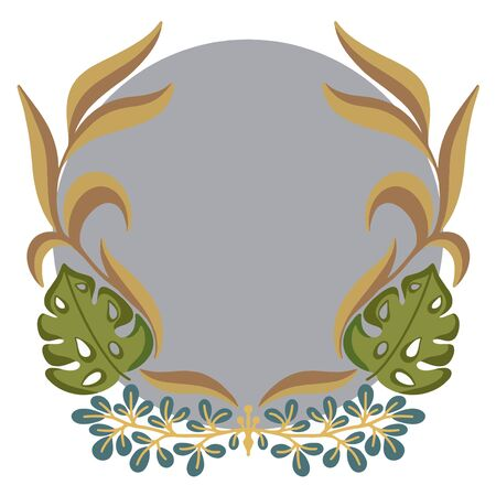 Round Frame with flowers and leaves on white background. Vector illustration