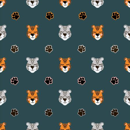 Vector pattern with snow leopard and jaguar head and paw prints. Seamless pattern for bed linen, wrapping paper, fabric. Vector illustration on dark green background