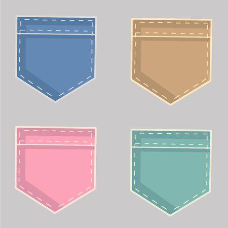 Pocket symbols on gray background. Colored vector illustration. Illustration