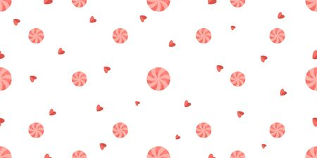 Vector pattern with round candies and hearts on a white isolated background. Illustration for Valentines day Illustration