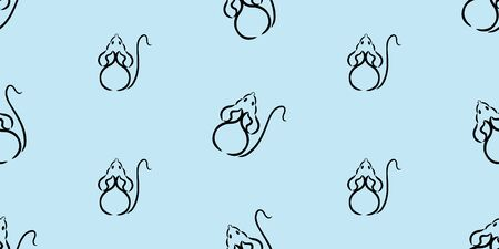 Seamless vector pattern with black mice crawling in different directions. Colored background Illustration