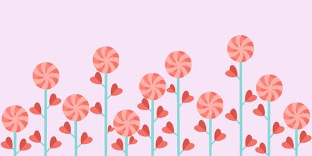 Red-pink lollipops on green stems with leaves in the form of hearts.Vector illustration of a banner for Valentines day on a colored background