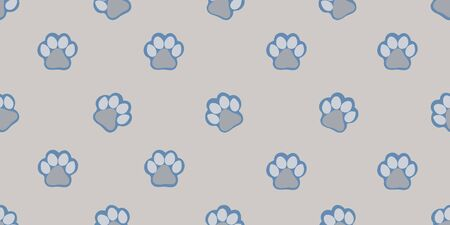 Vector pattern with cute gray paw prints. Seamless pattern for bed linen, wrapping paper, fabric. Vector illustration on colorful background