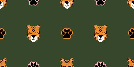 Vector pattern with leopard head and paw prints. Seamless pattern for bed linen, wrapping paper, fabric. Vector illustration on green background Illustration