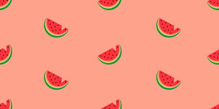 Vector seamless pattern with watermelons on a colored background.