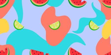 Vector seamless pattern with watermelons, lemons and abstract shapes on a colored background.
