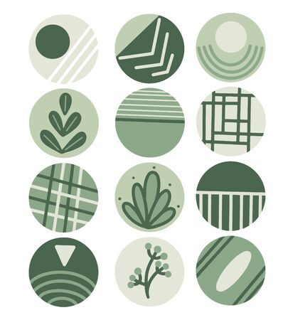 Highlights icon. Stories Covers abstract Icons. Perfect for bloggers.Vector icons in green colors