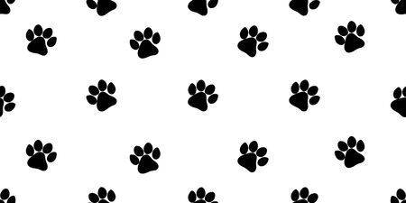 Vector pattern with black paw prints. Seamless pattern for bed linen, wrapping paper, fabric. Vector illustration on white background