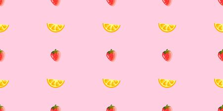 Seamless vector pattern with citrus slices and strawberries. Lemon and berry on a colored background. Background for decor, textiles and notebooks