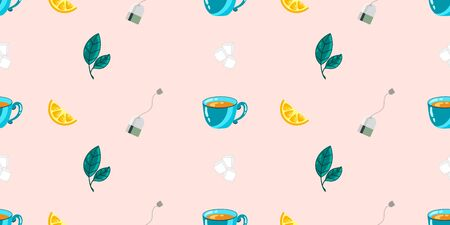 Seamless vector pattern with citrus slices, mint leaves, mugs and tea bags, with sugar on a colored background. Background for decor, textiles and notebooks Illustration