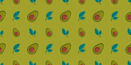 Seamless vector pattern with halves of the avocado and leaves on a colored background. Background for decor, textiles and notebooks.Cute illustration